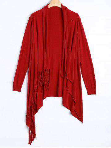 Sale Plus Size One Tassel Knit Cardigan - ONE SIZE RED Mobile