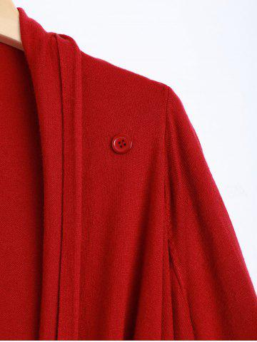 Latest Plus Size One Tassel Knit Cardigan - ONE SIZE RED Mobile