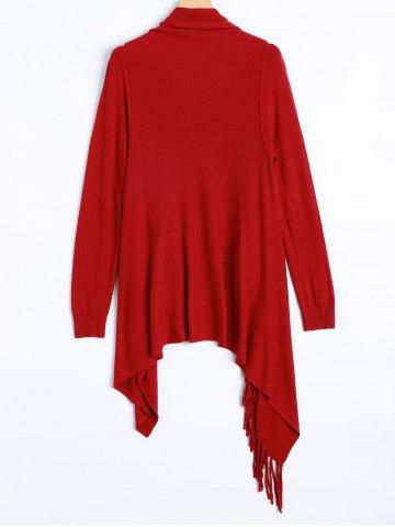 Online Plus Size One Tassel Knit Cardigan - ONE SIZE RED Mobile