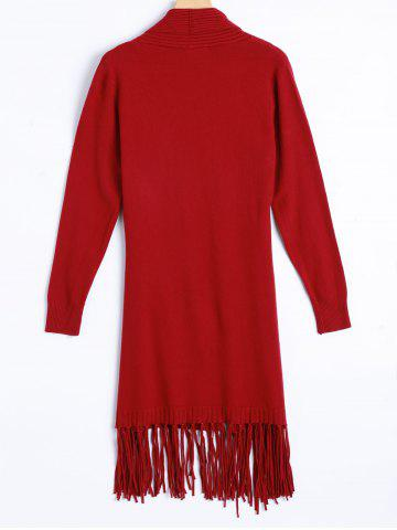 Affordable Knit Duster Cardigan with Tassel - ONE SIZE RED Mobile