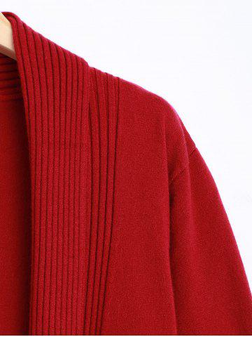 Fancy Knit Duster Cardigan with Tassel - ONE SIZE RED Mobile
