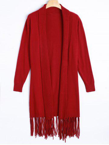 Latest Knit Duster Cardigan with Tassel - ONE SIZE RED Mobile