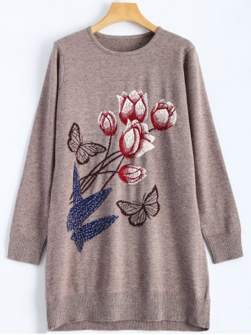 Fancy Rose Butterfly Pattern Rhinestone Tunic Knitwear