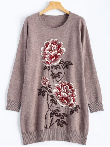 Cheap Peony Rhinestone Tunic Knitwear - ONE SIZE GRIEGE Mobile