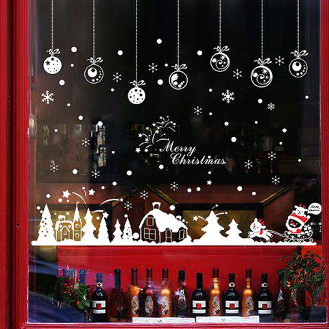 Outfit Christmas Snow Hut Removable Glass Window Wall Stickers RED WITH WHITE