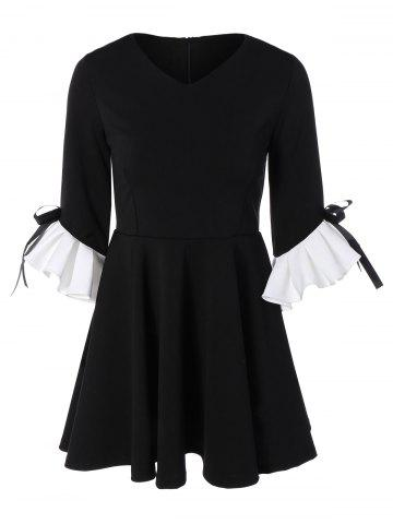 Best Bowknot Ruffles Cuff Fit and Flare Dress BLACK ONE SIZE