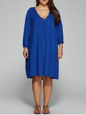 Chic Plus Size Empire Waist Loose-Fitting Dress BLUE 2XL