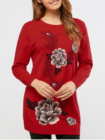 New Rhinestoned Peony Print Long Sweater