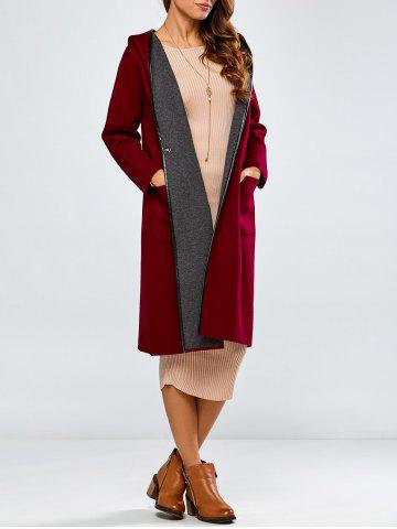 Best Covered Edge Reversible Hooded Cardigan WINE RED ONE SIZE