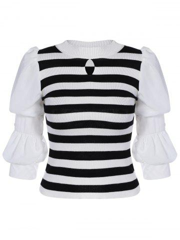 Cheap Puff Sleeve Striped Short Knitwear