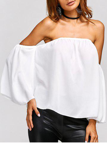 Chic Off The Shoulder Backless Chiffon Blouse WHITE XL