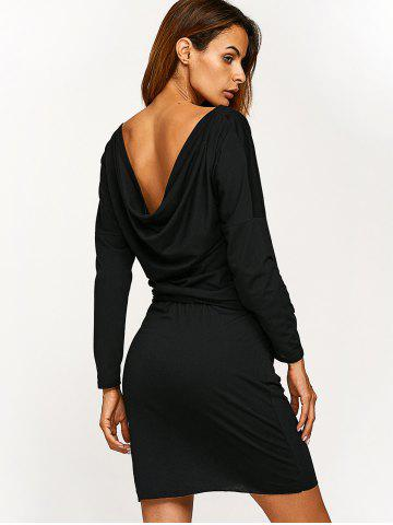 Fancy Long Sleeve Blouson Backless Dress - M BLACK Mobile