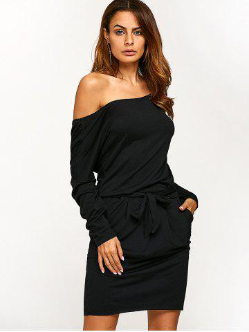 Latest Long Sleeve Blouson Backless Dress - M BLACK Mobile