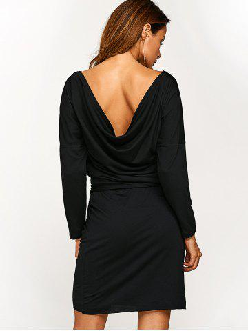 Trendy Long Sleeve Blouson Backless Dress - M BLACK Mobile