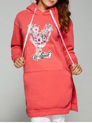 Flocking Deer Print Side Slit with Pocket Hoodie -
