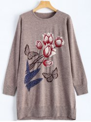 Rose Butterfly Pattern Rhinestone Tunic Knitwear -