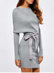 Batwing Knit Dress With Bowknot Sash - LIGHT GRAY