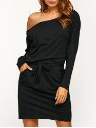 Long Sleeve Blouson Backless Dress - BLACK