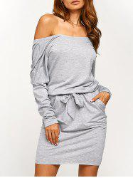 Long Sleeve Blouson Backless Dress - GRAY