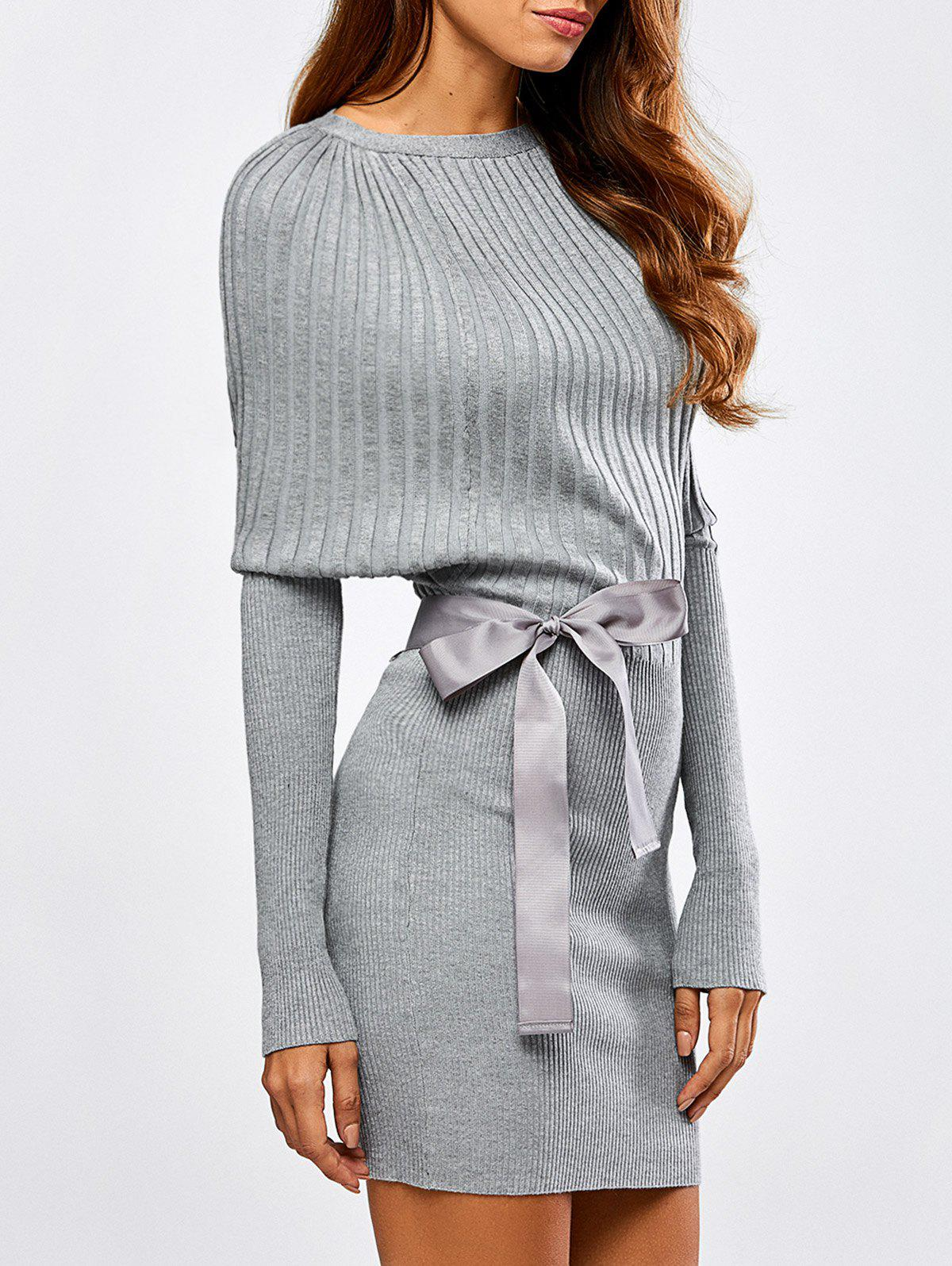 Outfits Batwing Knit Dress With Bowknot Sash