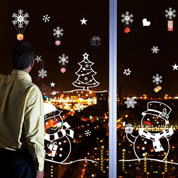 Christmas Snowman Removable Glass Window Wall StickersHOME<br><br>Color: COLORMIX; Wall Sticker Type: Plane Wall Stickers; Functions: Decorative Wall Stickers; Theme: Christmas,Holiday; Material: PVC; Feature: Removable,Washable; Size(L*W)(CM): 50*70; Weight: 0.265kg; Package Contents: 1 x Wall Stickers;