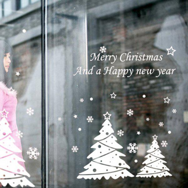 Christmas Tree Removable Glass Window Wall StickersHOME<br><br>Color: WHITE; Wall Sticker Type: Plane Wall Stickers; Functions: Decorative Wall Stickers; Theme: Christmas,Holiday; Material: PVC; Feature: Removable,Washable; Size(L*W)(CM): 50*70; Weight: 0.315kg; Package Contents: 1 x Wall Stickers;