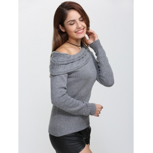 Skew Neck Long Sleeve Pullover Knit Sweater - GRAY XL