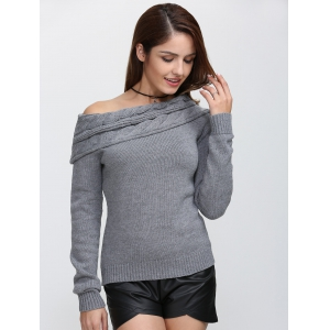 Skew Neck Long Sleeve Pullover Knit Sweater - GRAY S
