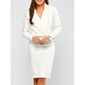 Long Sleeve Shawl Collar Sweater Fitted Dress