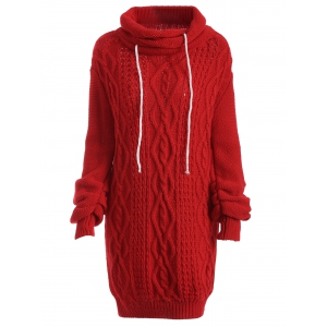 Long Sleeve Polar Neck Jumper Dress - Red - S