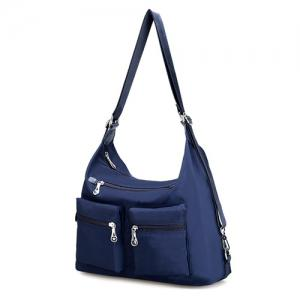 Nylon Pockets Zippers Shoulder Bag - DEEP BLUE