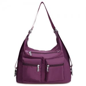 Nylon Pockets Zippers Shoulder Bag