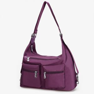 Nylon Pockets Zippers Shoulder Bag - DEEP PURPLE