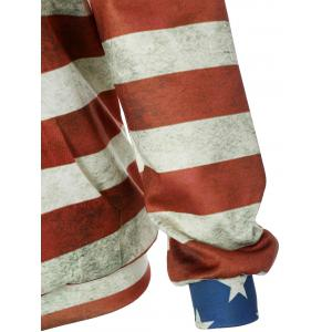 Front Pocket American Flag Print Outerwear Hoodie - COLORMIX L