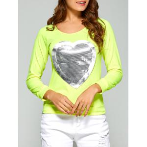 Long Sleeve Heart Sequin T-Shirt - Fluorescent Yellow - 2xl