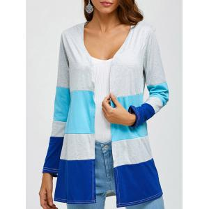 Color Block Preppy Style Cardigan - Light Gray - S