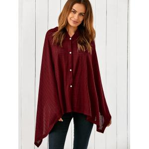 Side Button Asymmetrical Cape Blouse -