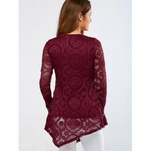 Openwork Sleeve Lace Asymmetrical Blouse -