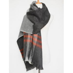 Chic Winter Big Plaid Pattern Tassel Blanket Scarf - Gray - S