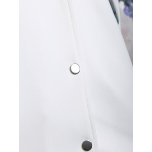 Buttoned Printed Coat - WHITE 4XL