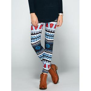 Christmas Print Bodycon Leggings - Colormix - One Size