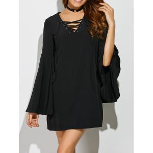 Bell Sleeve Lace Up Mini Dress