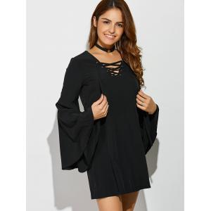 Bell Sleeve Lace Up Mini Dress -