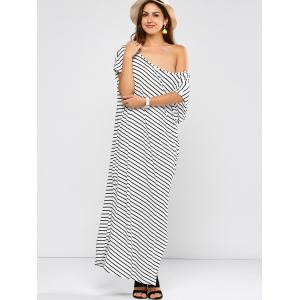 One Shoulder Stripe Slit Maxi T-shirt Dress -