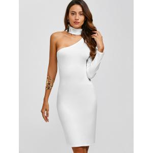 Chocker Fitted One Shoulder Knee Length Cocktail Dress - WHITE XL