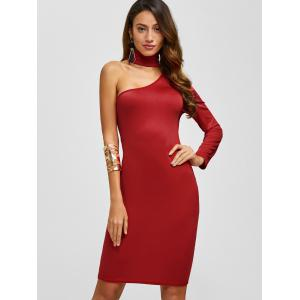 Chocker Fitted One Shoulder Knee Length Cocktail Dress - RED S