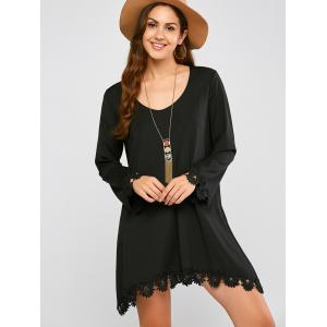 Long Sleeve Crochet Trim Mini Dress - BLACK L