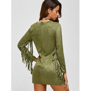 Suede Plunge Long Sleeve Dress with Fringe -