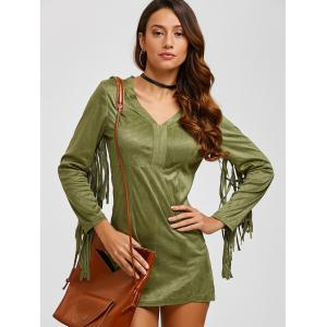 Suede Plunge Dress with Fringe - ARMY GREEN M