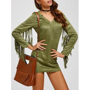 Suede Plunge Long Sleeve Dress with Fringe